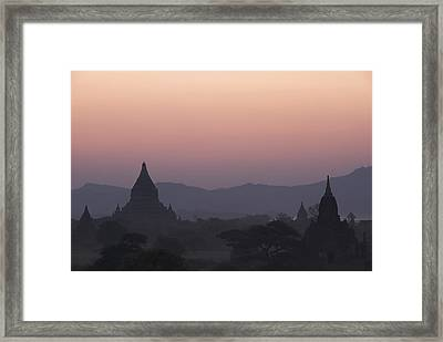 Bagan Temples At Sunset Framed Print by Gloria & Richard Maschmeyer