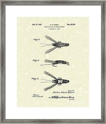 Bait 1932 Patent Art Framed Print by Prior Art Design