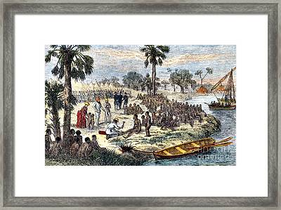 Baker Liberating Slaves In Africa, 1869 Framed Print by Photo Researchers