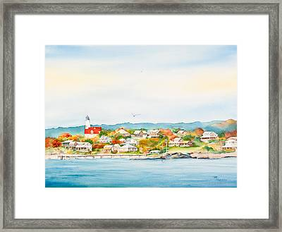 Bakers Island Lighthouse In Autumn Watercolor Painting Framed Print by Michelle Wiarda