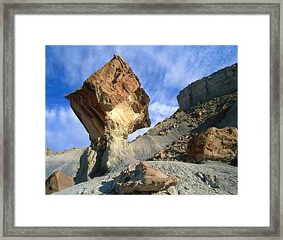 Balancing Rock Caused By Water Erosion Framed Print by G. Brad Lewis