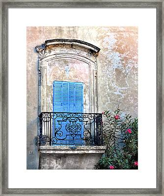 Framed Print featuring the photograph Balcony Provence France by Dave Mills