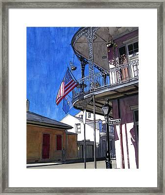 Balcony With American Flag Framed Print by John Boles