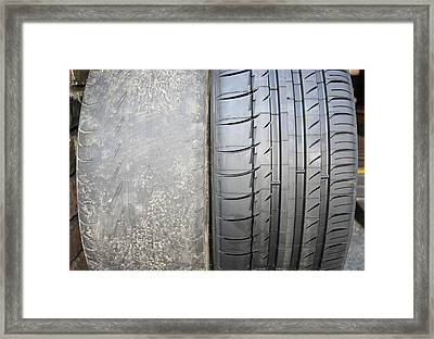 Bald And New Tyre Framed Print by Cordelia Molloy