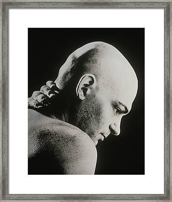 Bald Man Holding His Neck Suffering From Pain Framed Print