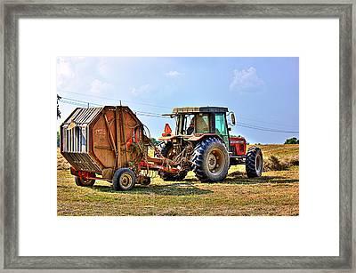 Baling Hay Framed Print by Barry Jones