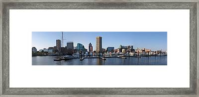 Framed Print featuring the photograph Balitmore Inner Harbor Panorama by Darleen Stry