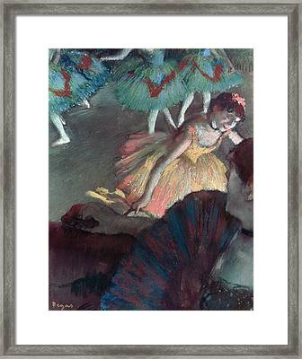 Ballerina And Lady With A Fan Framed Print by Edgar Degas