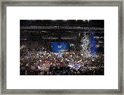 Balloons Drop At The Convention Center Framed Print by Everett