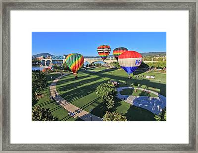 Balloons In Coolidge Park Framed Print by Tom and Pat Cory