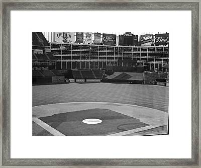 Ballpark Black White Framed Print by Malania Hammer