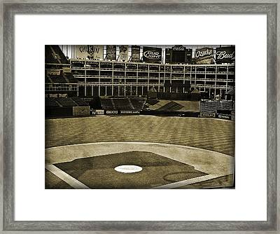 Ballpark Grunge Framed Print by Malania Hammer