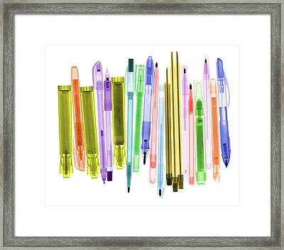 Ballpoint Pens X-ray Framed Print by Ted Kinsman
