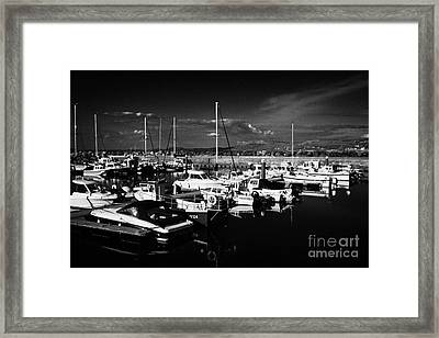 Ballycastle Harbour And Marina With Fair Head In The Background County Antrim Northern Ireland Framed Print by Joe Fox