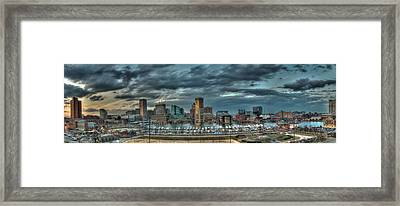 Framed Print featuring the photograph Baltimore Inner Harbor Pano by Mark Dodd