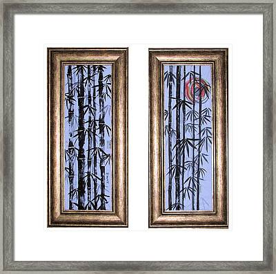 Framed Print featuring the painting Bamboo Forest - Dyptech by Alethea McKee