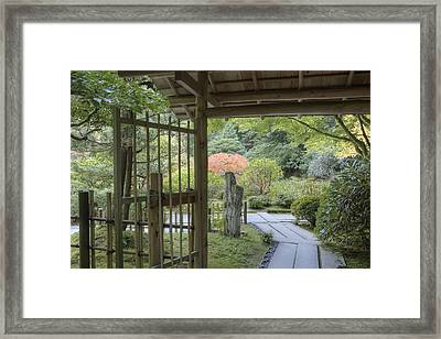 Bamboo Gate And Traditional Arch Framed Print by Douglas Orton