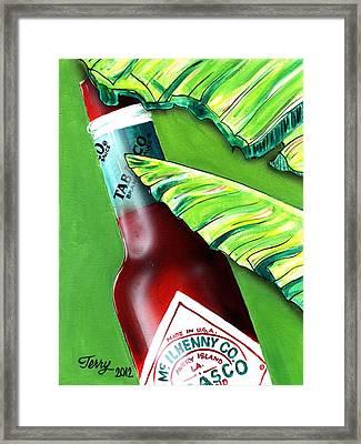 Banana Leaf Series - Tabasco Bottle Framed Print by Terry J Marks Sr