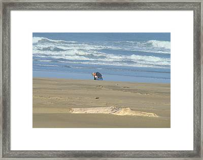 Bandon Oregon Beach Comber Prints Ocean Coastal Framed Print by Baslee Troutman