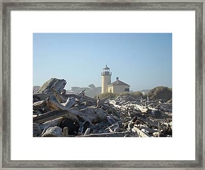 Bandon Oregon Lighthouse Art Prints Driftwood Framed Print by Baslee Troutman