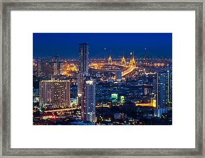 Bangkok Capital City Of Thailand Nightscape Framed Print by Arthit Somsakul