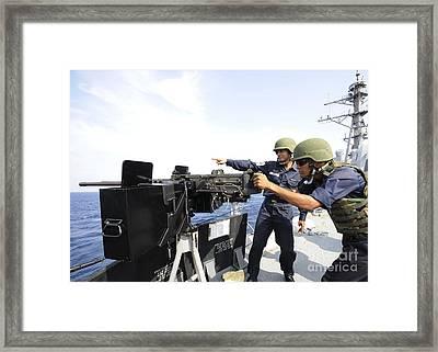 Bangladesh Navy Sailors Fire Framed Print by Stocktrek Images