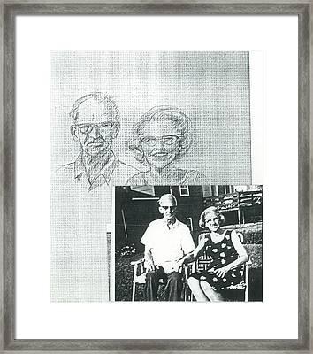 Bank Gal Parents Portrait Framed Print by Valerie VanOrden
