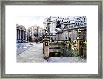 Bank Station Entrance In London Framed Print by Elena Elisseeva