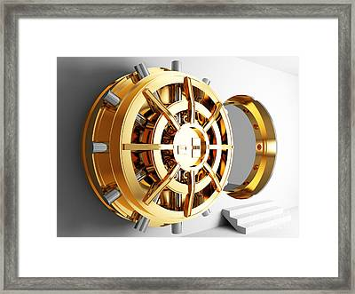 Bank Vault Door 3d Framed Print by Gualtiero Boffi