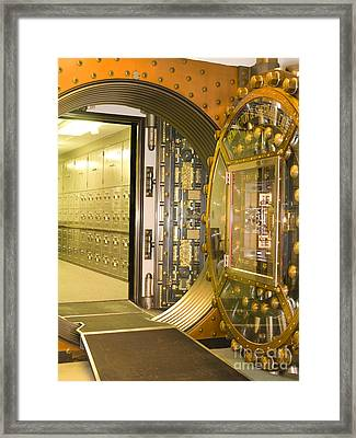 Bank Vault Doors Leading To Safety Deposit Boxes Framed Print by Adam Crowley