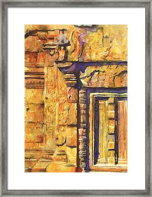 Banteay Srei Doorway Framed Print by Ryan Fox
