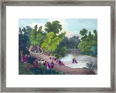 Baptism Of Jesus Christ In The River Framed Print by Everett