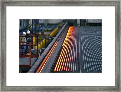 Bar-rolling Mill Processing Molten Metal Framed Print by Ria Novosti