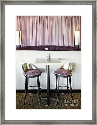Bar Table And Chairs Framed Print by Andersen Ross