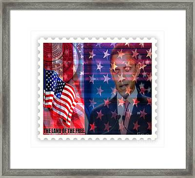 Barack A Stamp Framed Print by Fania Simon