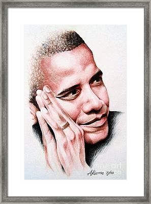 Barack Obama Framed Print by A Karron