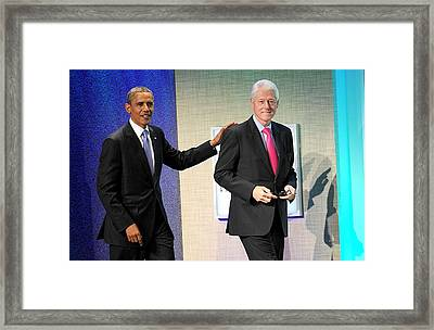 Barack Obama, Bill Clinton At A Public Framed Print