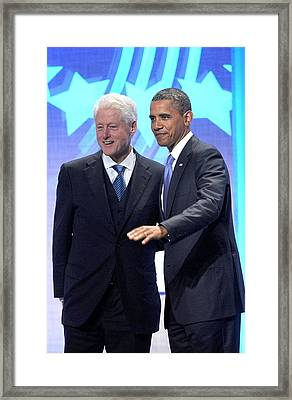 Barack Obama, Bill Clinton Framed Print by Everett