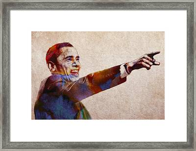 Barack Obama Watercolor Framed Print