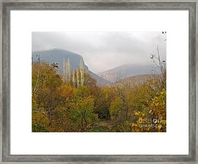 Barada Valley In Fall Framed Print by Issam Hajjar