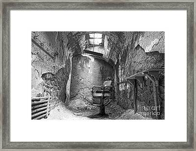 Barber - Chair - Eastern State Penitentiary - Black And White Framed Print by Paul Ward
