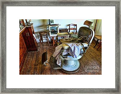 Barber Chair With Child Booster Seat Framed Print by Paul Ward