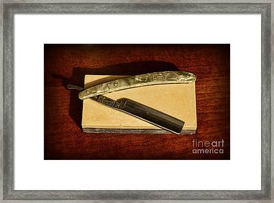 Barber - Razor And Sharpening Stone Framed Print by Paul Ward