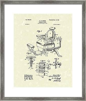 Barber's Chair 1901 Patent Art Framed Print by Prior Art Design