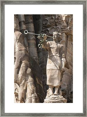 Barcelona Church Sagrada Familia Nativity Facade Detail Framed Print by Matthias Hauser