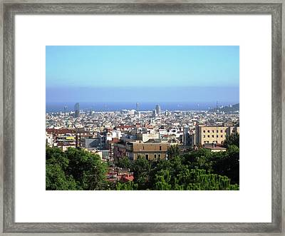 Barcelona Close Up View From Park Guell In Spain Framed Print by John Shiron