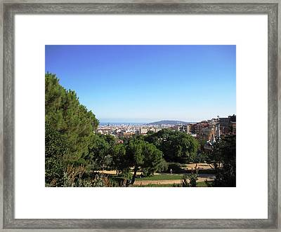 Barcelona Panoramic View From Park Guell In Spain Framed Print by John Shiron