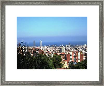 Barcelona Panoramic View IIi From Park Guell In Spain Framed Print by John Shiron
