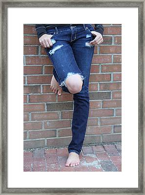 Barefeet And Blue Jeans Framed Print by Rebecca Powers