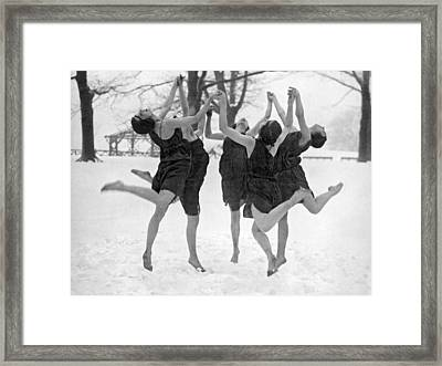 Barefoot Dance In The Snow Framed Print by Underwood Archives